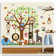 Animal Wall Stickers Owl Monkey Jungle Zoo Tree Nursery Baby Kids Bedroom Decals