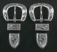 "2 - 5/8"" Hand Engraved Silver Plated Buckle Sets - Spur Straps Headstall     #12"