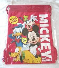 RED Mickey Mouse & Friends Drawstring Backpack Sling Tote School Child Gym Bag