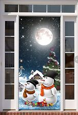 Front Christmas Door Cover Entry Doors Banner 3D New Year Decor Outside ON36