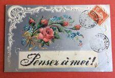 CPA. 1908. Fond Argenté. Roses. Pensez à moi !  Myosotis. Art Nouveau.