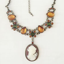 New Vintage Style Lady Cameo Citrine Luxury Pear Drop Charm Chain Necklace N1417