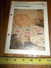 Vtg 1985 DIAMOND HEXAGONS AFGHAN QUICK ' N EASY CROCHETING PATTERN 4 PG
