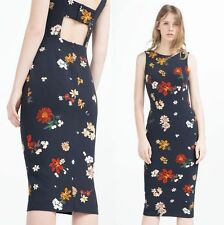 BNWT ZARA NAVY FLORAL TUBE DRESS XL UK 16 US 12