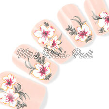 Nail Art Water Slide Decals Transfers Stickers White & Pink Hibiscus Flower G110