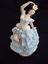Dresden Lace figurine Spanish flamenco dancer w tambourine 10.5in Sandizell mark