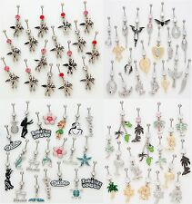 50 Assorted Fancy Dangle Belly Rings WHOLESALE Lot 14g Body Jewelry Piercings