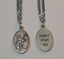 """St Scholastica Holy Medal & 24"""" Chain Beautiful Updated Image CLEARANCE SALE"""