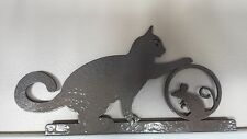 Playful Cat and Mouse Silhouettes Door/Window Topper Painted Hammered Brown