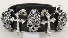 Black Leather Skull Cross Adjustable Bracelet With Free Gift