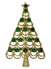 Christmas Tree Pin Brooch Gorgeous Emerald Color Green Crystal Gold Metal