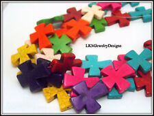 Large Howlite Turquoise Cross Charms 1 Strand bulk beads, 30X36mm, supplies