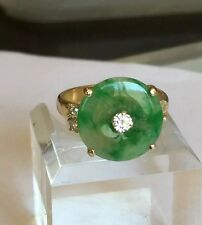 Green Jade And Diamonds In 18k Gold Ring