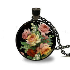 New Flowers Charm Glass Dome Cabochon Black Chain Necklace Pendant