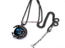 QUALITY BLUE MOON CRESCENT NECKLACE LONG CHAIN PENDANT NECKLACE WOMENS GIFT