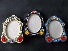 """3 VTG MINIATURE MICRO MOSAIC GLASS TILES 2 3/4"""" BRASS EASEL PICTURE FRAMES"""