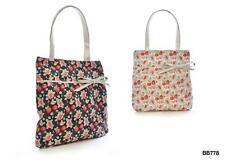 KS Brands BB0778 Bright Coloured Floral Print Straw Bag Assorted Colours PU Bow