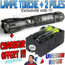 ► LAMPE TORCHE 3500 LUMENS LED CREE T6 FLASHLIGHT PUISSANT + 2 PILES + CHARGEUR