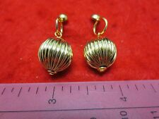 14KT GOLD EP  SHINY FLUTED BALL DROP EARRINGS WITH MEDIUM POSTS-12MM OR 1/2 INCH