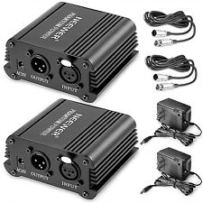 Neewer 2-Pack Black 48V Phantom Power Supply with Adapter and XLR Cable
