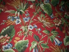 8 YARDS KAUFMANN FLORAL FABRIC ~ RED with FLOWERS ~ UPHOLSTERY / CURTAINS