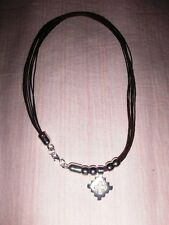 COLLANA ARGENTATA FILI IN CUOIO TEMA CROCE PIXEL CUTE SILVER CROSS NECKLACE