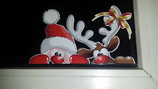 Santa & Reindeer peeking sticker peeping funny cute decoration christmas rudolph