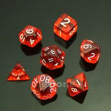 7-Dice Sided D4 D6 D8 D10 D12 D20 Magic-the-Gathering D&D RPG Poly Game Set Red