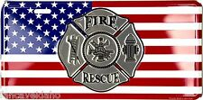 """Fire Rescue American Flag Firefighter 12"""" x 6"""" Embossed Metal License Plate Tag"""