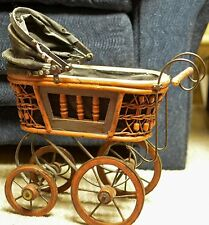 VINTAGE VICTORIAN ORNATE WICKER BABY DOLL STROLLER CARRIAGE BUGGY CARRIER