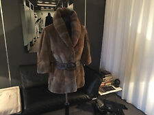 FUR COAT SHAVED MUSKRAT JACKETS 3/4 SLEEVES AMAZING CONDITION