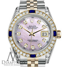 Rolex S/S & Gold 36mm Datejust Watch Pink MOP Dial with Sapphire & Diamond Bezel