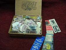 LG. GROUP. OF VINTAGE - MOSTLY CANCELLED U.S. POSTAGE STAMPS IN WOODEN BOX