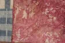 Antique French Toile pink + 18th flame Napoleon Napoleonic toile fabric textile