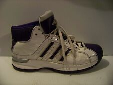 ADIDAS PRO MODEL BASKETBALL SHOES WHT / PURPLE SIZE 13 / 48 PRE-OWN