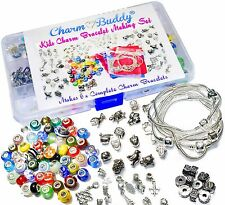 6 x Charm Bead Bracelet Making Jewellery Kit Gift Set for Girls Kids Children