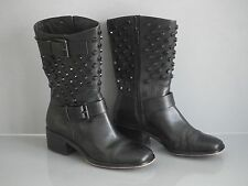MICHAEL KORS BLACK LEATHER STUDDED BRYN MOTO BOOTS 5