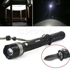 Waterproof 3 Mode LED Flashlight Torch Survival Tool Sharp Blade Hunting