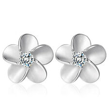Chic Fashion Women 925 Sterling Silver Crystal Alice Flower Ear Stud Earrings