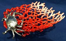 Coral Enameled Crab Dish Table Art Home decor Pewter