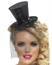 A486 Glitter Mini Top Hat Burlesque Moulin Rouge Fascinator Showgirl Ringmaster