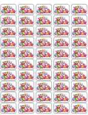 "50 Shopkins Characters Envelope Seals / Labels / Stickers 1"" by 1.5"""