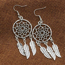 Fashion Jewelry Vintage Silver Plated Dream Catcher Long Drop Earring Vogue Gift