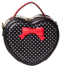 Banned Rockabilly 50s Heart Shaped Polka Dot Red Bow Small Handbag Black