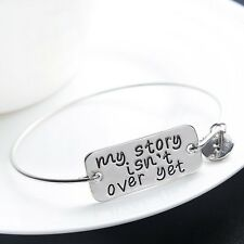 Women Men Gold Silver Plated My Story Isn't Over Yet Bracelet Bangle Jewelry BFF