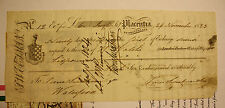 1823 NEWFOUNDLAND BILL OF EXCHANGE- SUM OF 6 POUNDS - PIERCE SWEETMAN - RARE