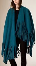 NWT $2195 BURBERRY PRORSUM FRINGED FELTED WOOL CASHMERE CAPE PONCHO SEA BLUE