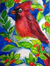 Watercolor Painting Red Cardinal Birds Green Leaf Tree Nature Miniature ACEO Art