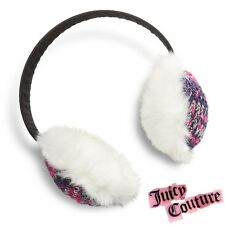 NWT Juicy Couture Mixed Media Earmuffs Cozy Knit Hat Fashion Christmas Gift -