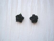BLACK RED ROSE STUD SILVER PLATED 10mm Earrings Rockabilly Gothic Flower
